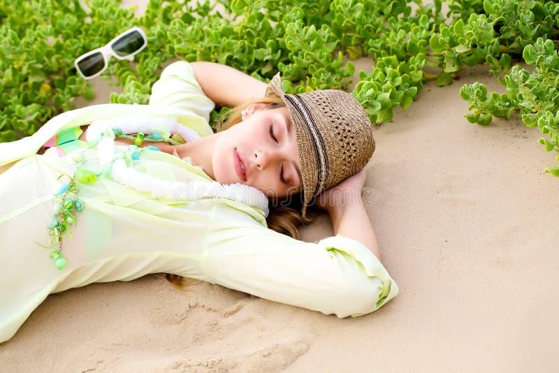 Download Gilr lying on beach stock image. Image of female, coast - 14082139