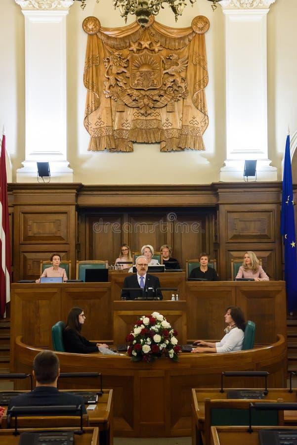 Gils Levits, elegeu recentemente o presidente de Letónia, juramento solene fotos de stock royalty free