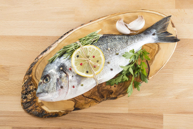 Gilt-head sea bream with spices and herbs. Raw gilt-head sea bream with spices and herbs on a cutting board ready to be cooked royalty free stock photos