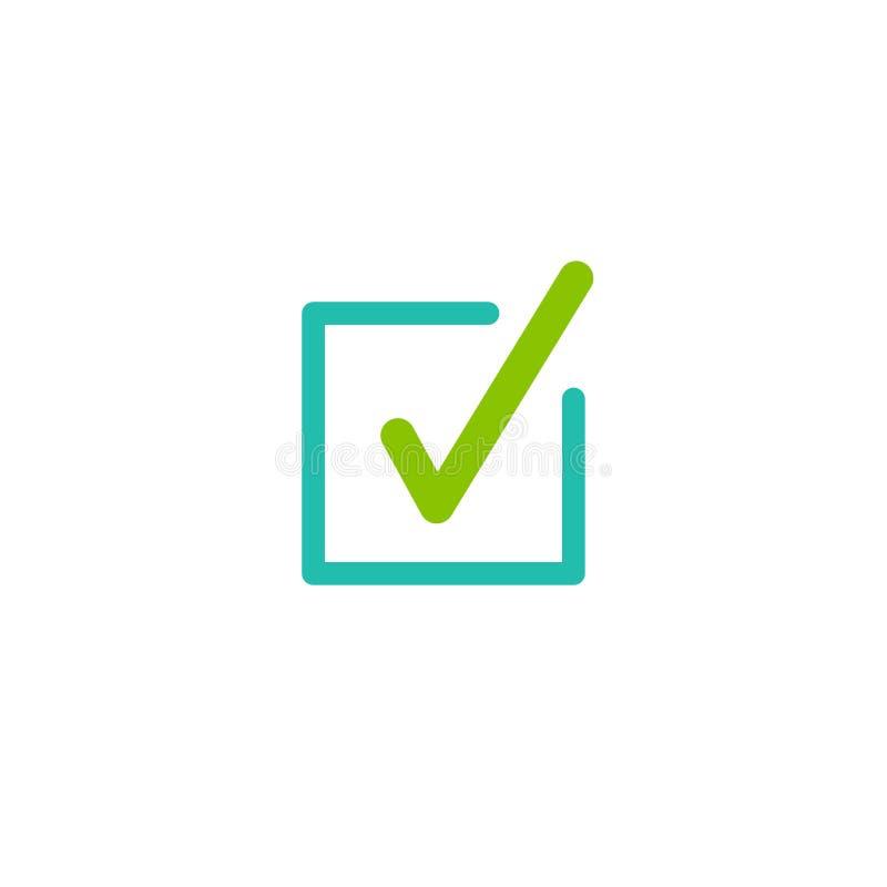 Giltig skyddsremsasymbol Grön fästing i kvadrerad ask Plan reko klistermärkesymbol Isolerat på vit royaltyfri illustrationer