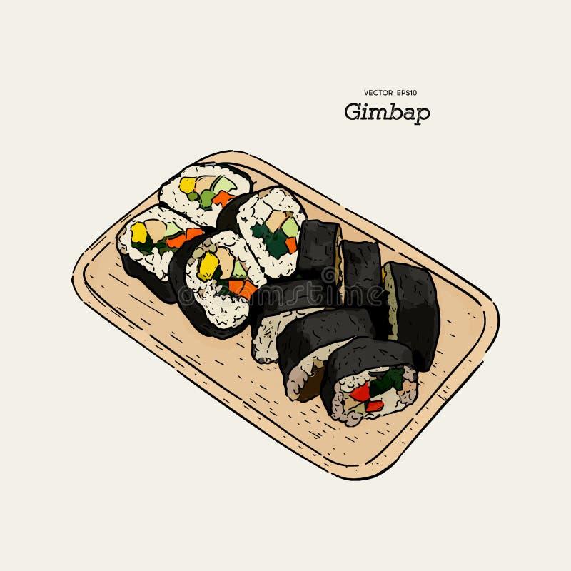 Gimbap tradicional coreano del plato Sushi coreano Ilustraci?n drenada mano del vector ilustración del vector