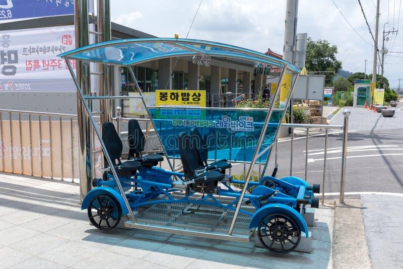 Gimhae Nakdong River Rail Bike at Bongha Village, Gyeongsang Province. Gimhae, South Korea - July 12, 2018 : Gimhae Nakdong River Rail Bike at Bongha Village royalty free stock image