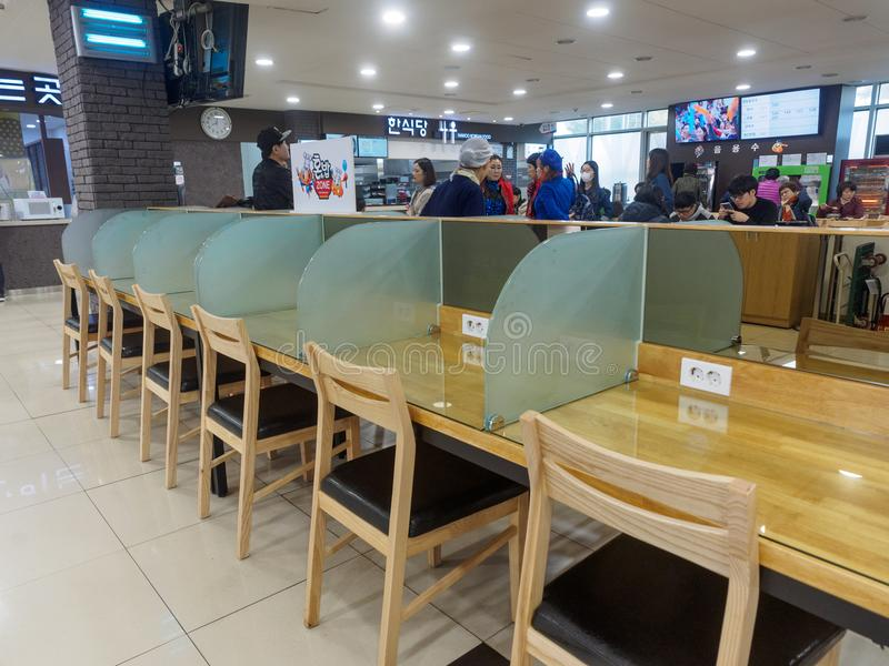 Restaurant view of Jinyeong Service Area, Toll road rest stop in Gyeongsangnam-do stock image