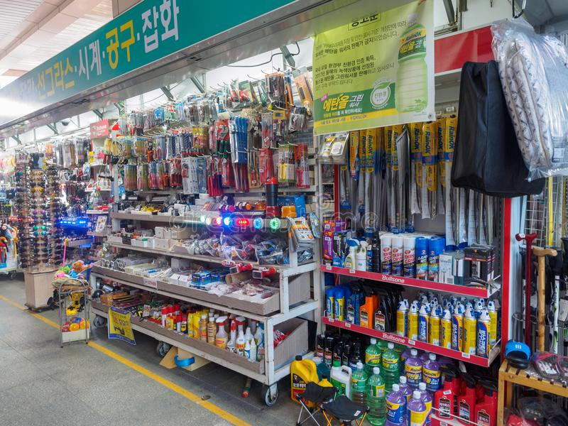Souvenir shop at Jinyeong Service Area, Toll road rest stop in Gyeongsangnam-do stock images