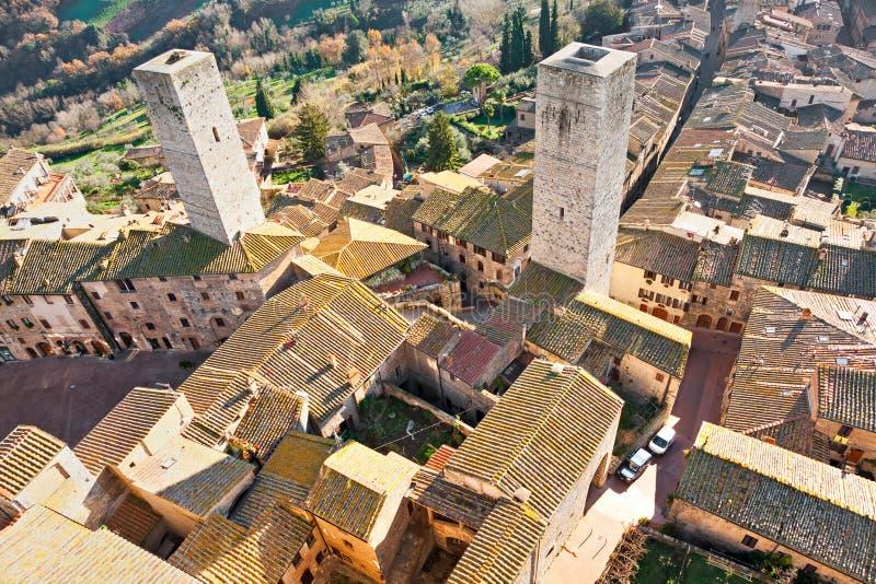 gimignano意大利圣・托斯卡纳视图 库存图片