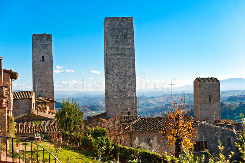 gimignano意大利圣・托斯卡纳视图 免版税图库摄影