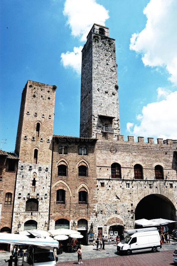 gimignano意大利圣方形托斯卡纳 库存照片