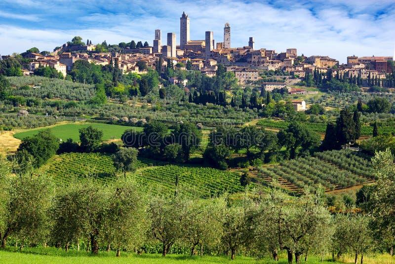 gimignano Italy panorama San fotografia royalty free