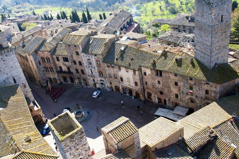 gimignano italy san fyrkantiga tuscan arkivbilder