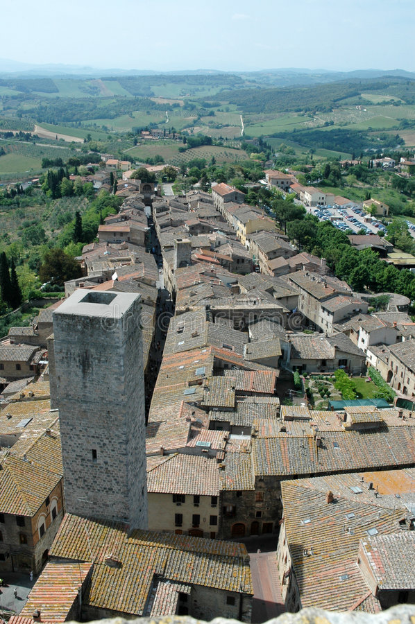 gimignanoitaly st tuscany royaltyfria foton