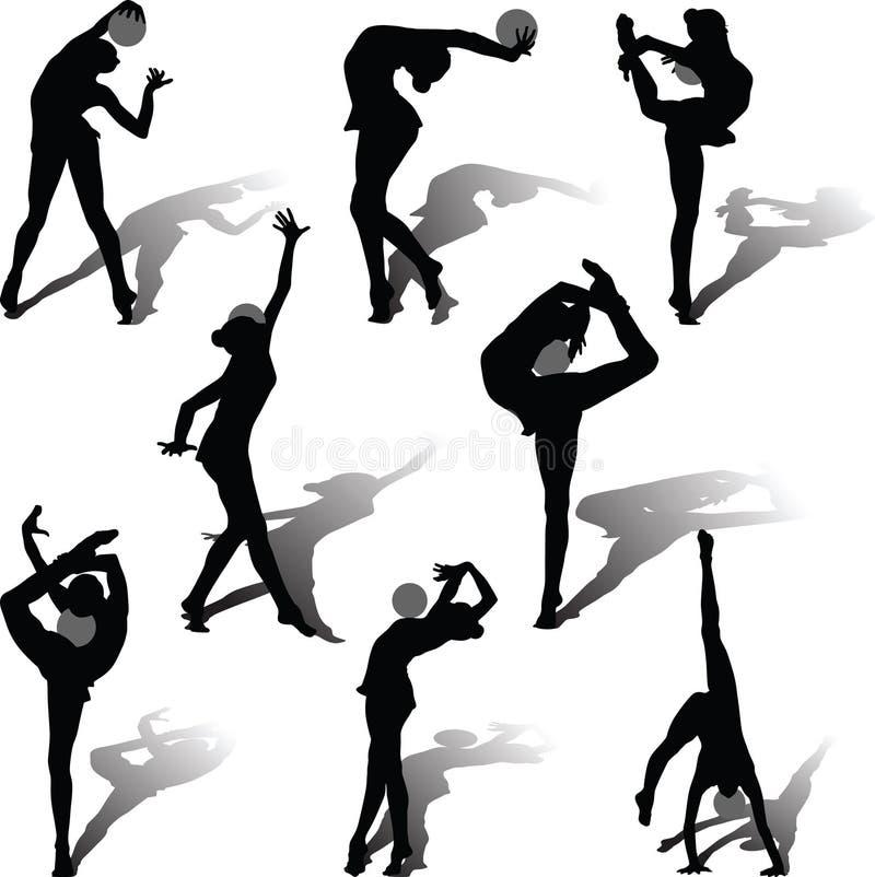 Gimnasia rítmica con la bola stock de ilustración