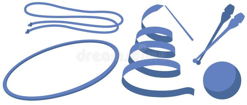 Gimnasia rítmica de la herramienta de mano de los ejemplos (bola del club del aro de la cuerda de la cinta) stock de ilustración