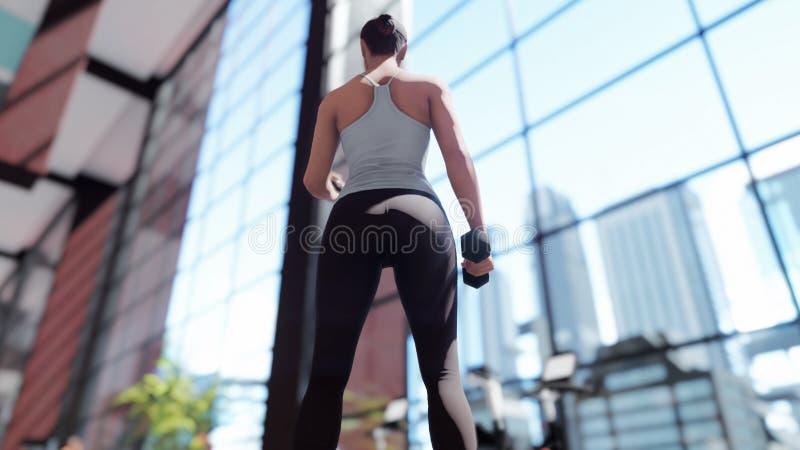 Gimnasio con una variedad de equipo del ejercicio y una deportista que hace deportes representación 3d stock de ilustración
