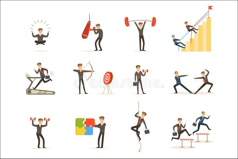 Gimnasio de Working Out In del hombre de negocios, metáfora del sistema del entrenamiento de la preparación del negocio de ejempl ilustración del vector