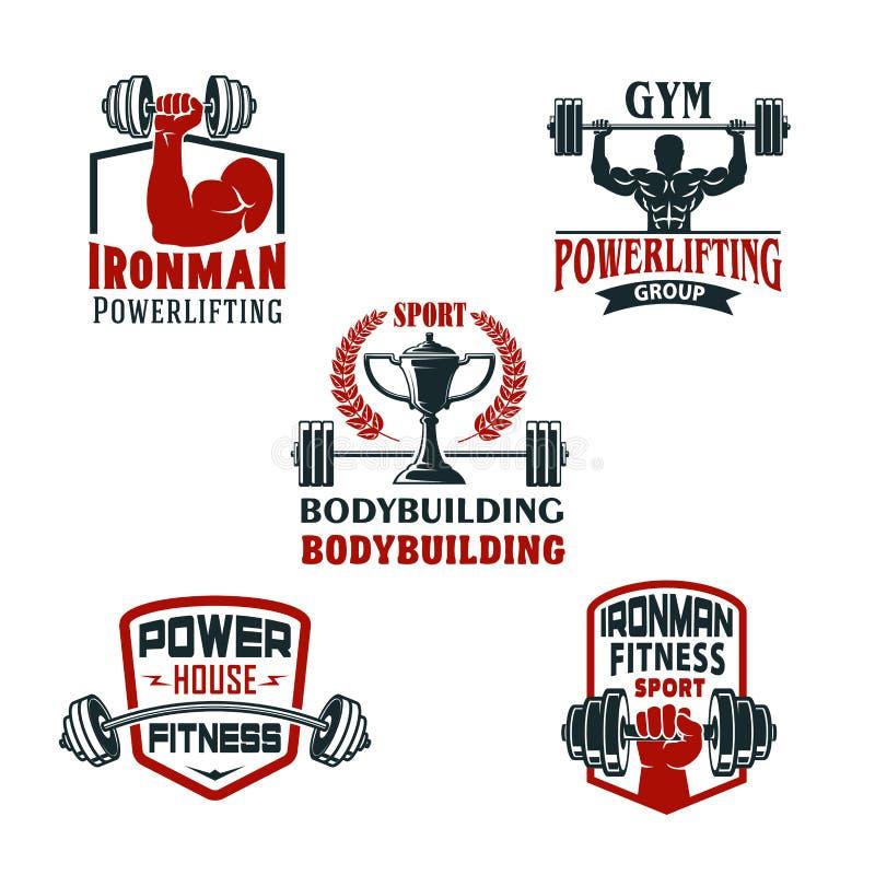 Gimnasio del levantamiento de pesas de los iconos del vector o club powerlifting libre illustration
