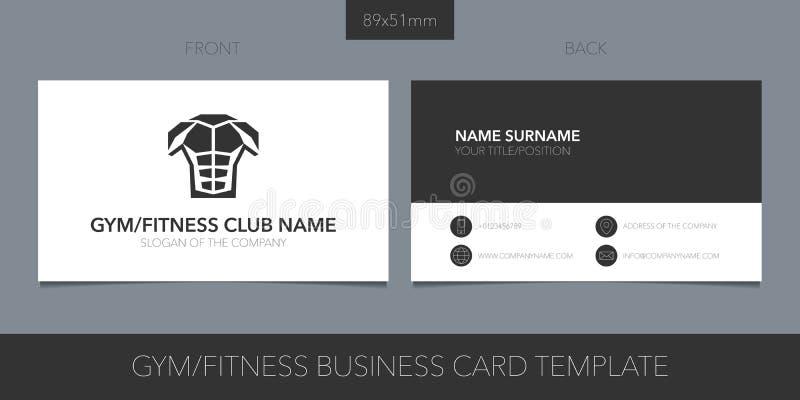 Gimnasio, disposición de la tarjeta de visita del vector del club de deporte libre illustration