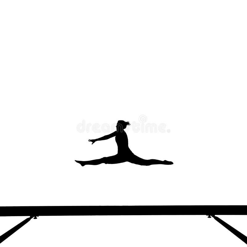 Gimnastyczka na balansowym promieniu ilustracji
