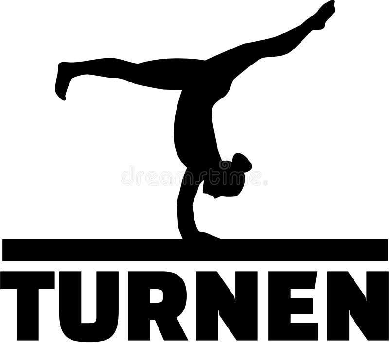 Gimnastyczka przy balansowym promieniem ilustracji