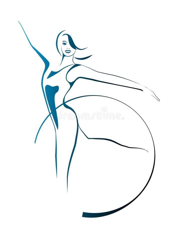 gimnastyczny dziewczyna obręcz ilustracja wektor