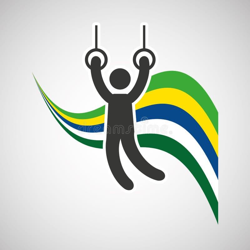 Gimnastyczny wciąż dzwoni sportowa tła chorągwianego projekt royalty ilustracja