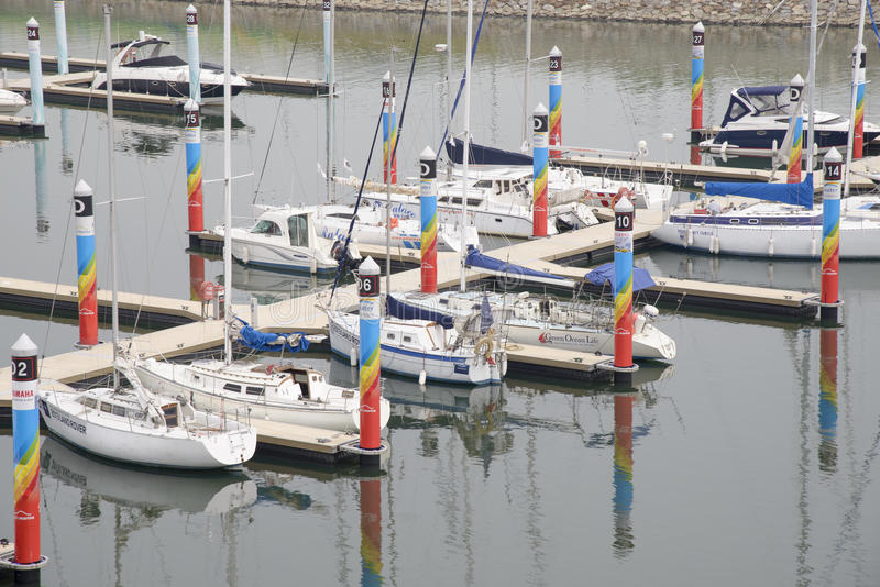 GIMPO, COREA - 5 luglio 2014: Bacino di Ara Marina Yachts in Gyeongin immagini stock libere da diritti