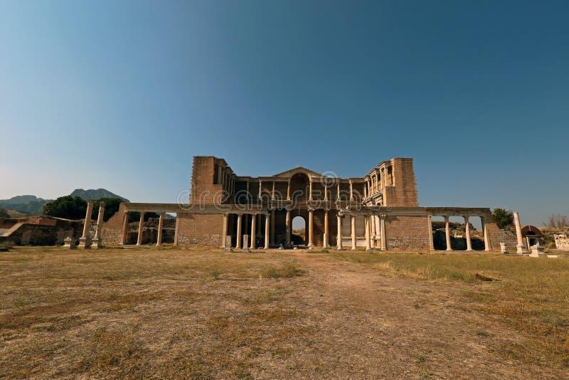 Ginásio grego de Sardis em Turquia fotos de stock royalty free