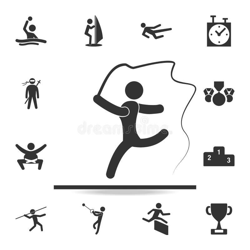 Ginástica com ícone da fita Grupo detalhado de ícones dos atletas e dos acessórios Projeto gráfico da qualidade superior Uma da c ilustração stock
