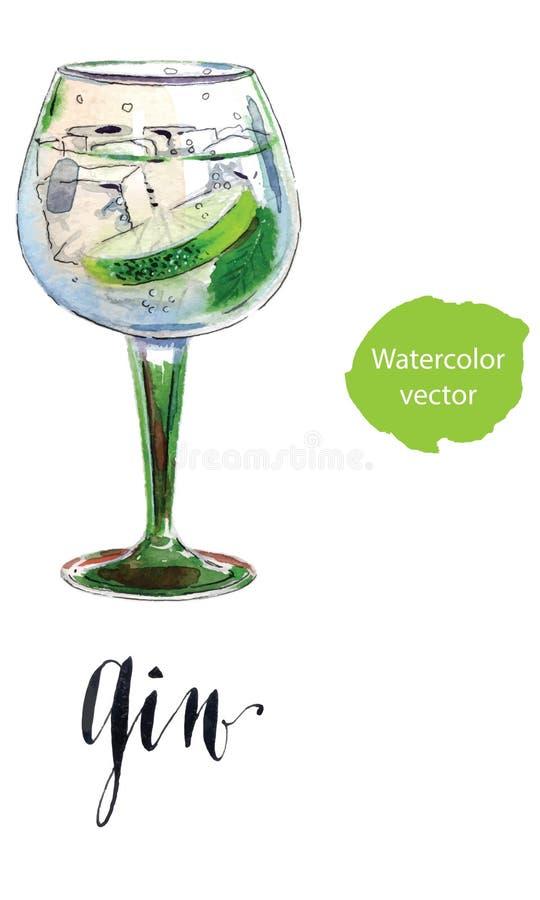Gin con la fetta della calce e del ghiaccio illustrazione vettoriale