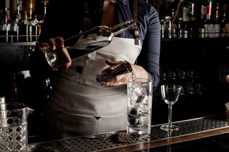 Gin di versamento del barista femminile in un vetro di cocktail immagini stock libere da diritti