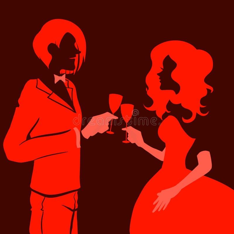 Gin Fizz bevente della donna e dell'uomo royalty illustrazione gratis