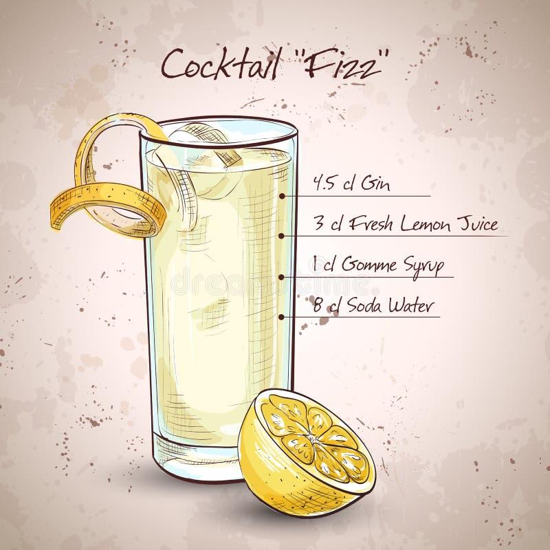 Gin Fizz Cocktail illustrazione di stock