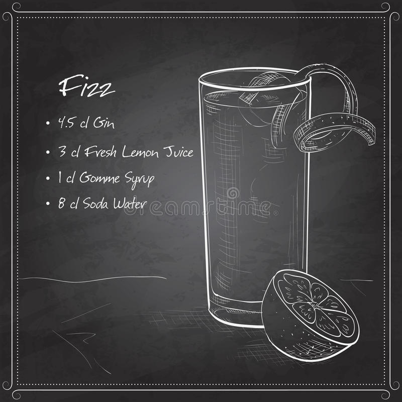 Free Gin Fizz Cocktail On Black Board Stock Images - 62669234