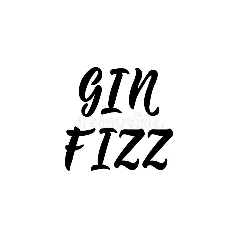 Gin Fizz del gin Illustrazione di vettore iscrizione Illustrazione dell'inchiostro royalty illustrazione gratis