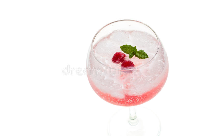 Gin hard liquorl drink with berries fruits isolated on white stock image