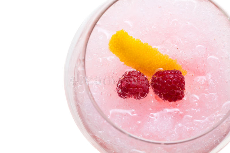 Gin hard liquorl drink with berries fruits isolated on white stock photography