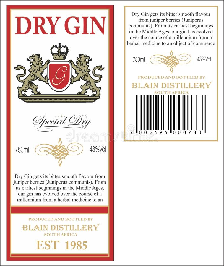 Gin Label. Robert's dry gin bottle label royalty free illustration