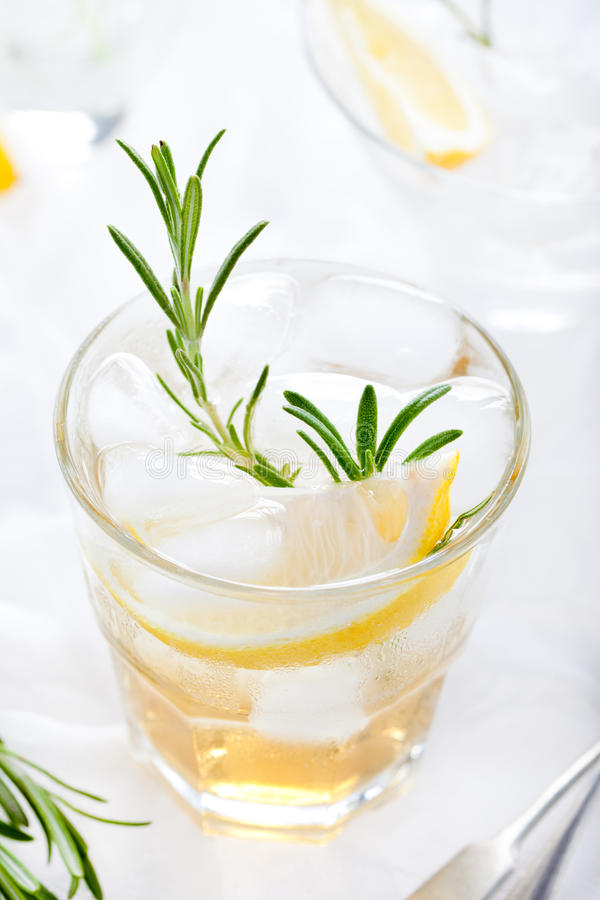Gin,lemon, rosemary fizz, cocktail. With honey and fresh herbs royalty free stock images
