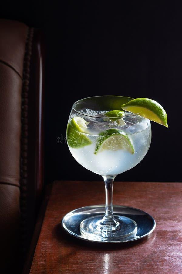 Gin- och uppiggningsmedelcoctail med limefrukter i mörk stång royaltyfria bilder