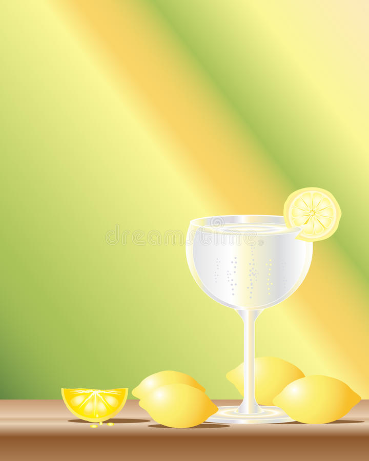 Gin and tonic. An illustration of a glass of gin and tonic with whole and sliced lemons on a yellow green background vector illustration