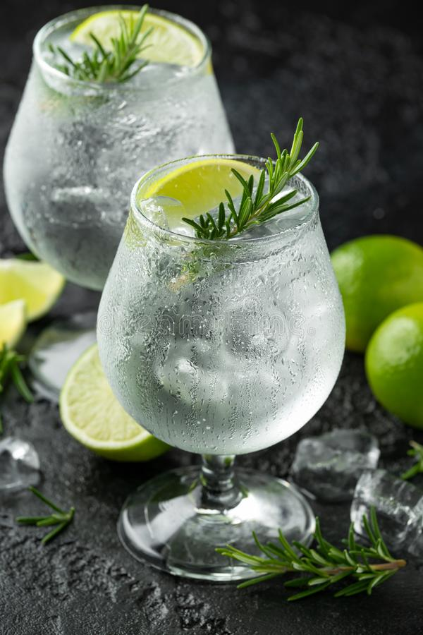 Gin and Tonic Alcohol drink with Lime, Rosemary and ice on rustic black table stock image