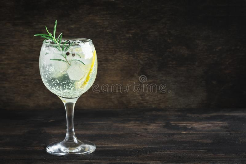 Gin and tonic cocktail stock image