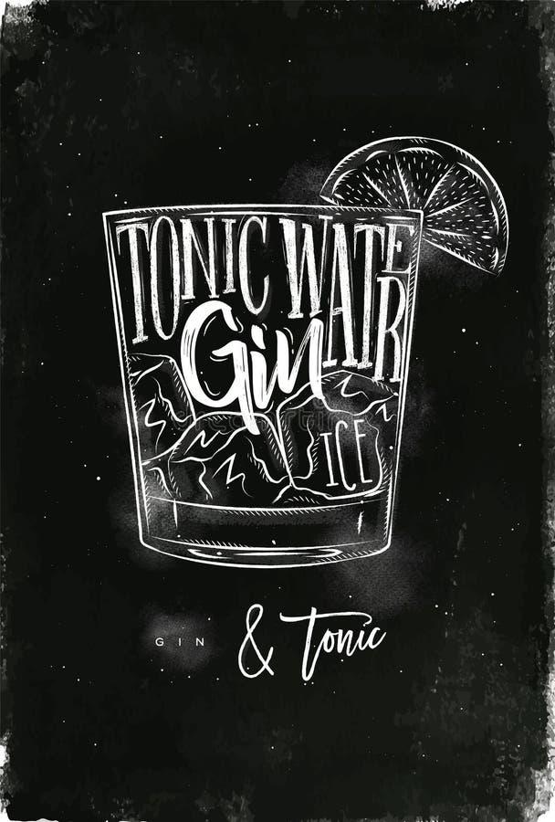 Free Gin Tonic Cocktail Chalk Stock Image - 91720281