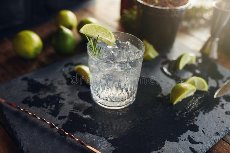 Gin and tonic drink served on black board royalty free stock images