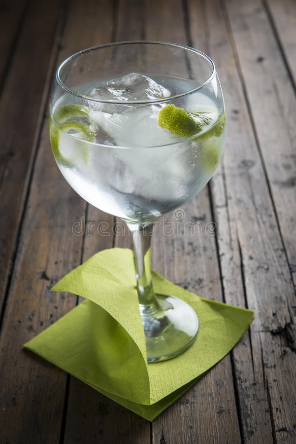 Gin and tonic garnished with lime royalty free stock images
