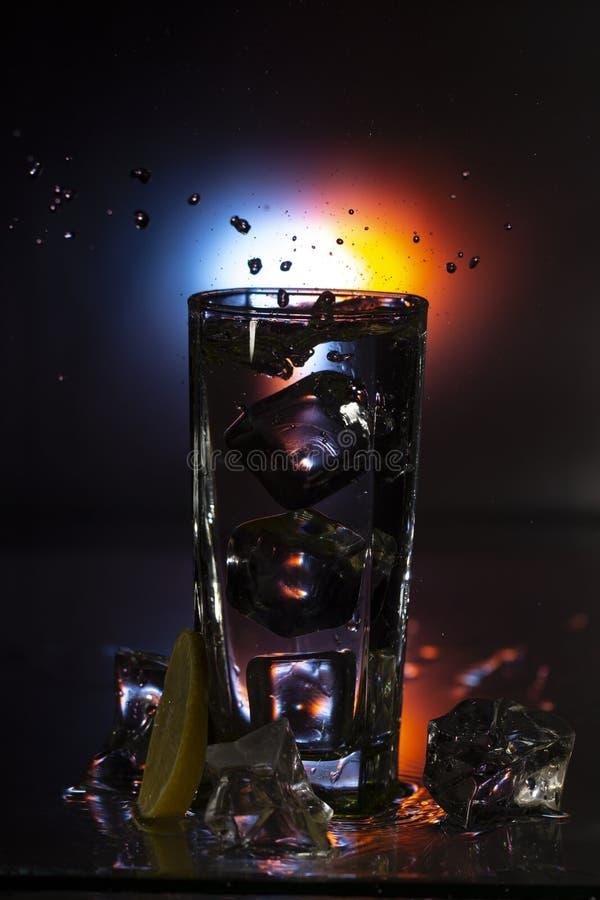 Gin Tonic-Getränk gedient mit Eis, Zitroneneifer und frischem Rosmarin lizenzfreie stockfotografie