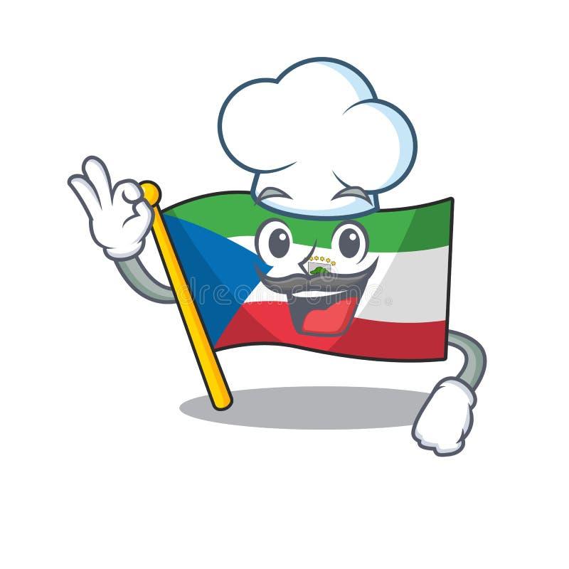 Ginea Równikowa Flaga Funny Chef Ginea Bohaterka kreskówki Scroll w białym kapeluszu ilustracji