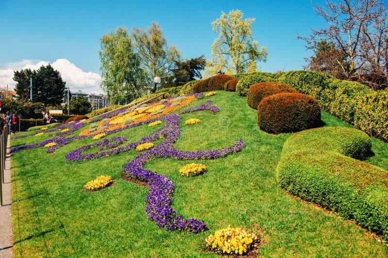 Ginebra, Suiza 20 de abril de 2019: L 'fleurie del horloge, reloj famoso de la flor en Ginebra imagen de archivo libre de regalías