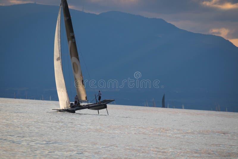 Ginebra Suiza - 10 06 2018: ` De Bol D o barco de navegación de Suiza M2 de la regata Petercam Degroof foto de archivo libre de regalías