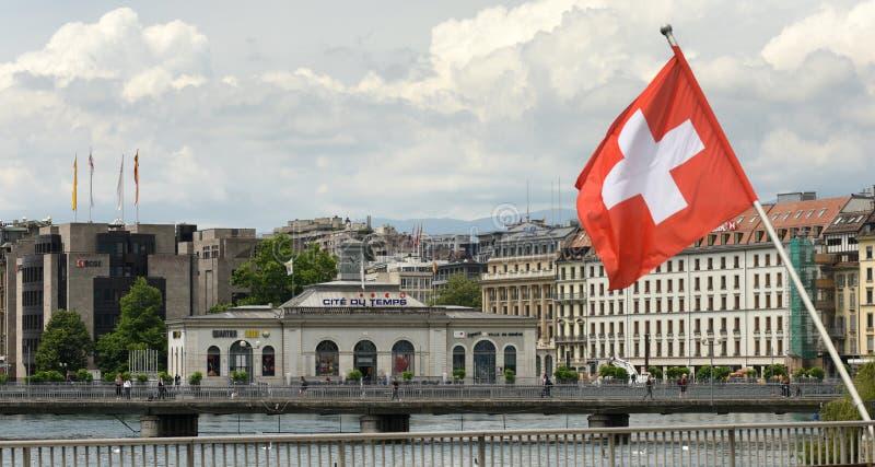 Ginebra, Suiza - 5 de junio de 2017: La Cite du Temps que construye a imágenes de archivo libres de regalías