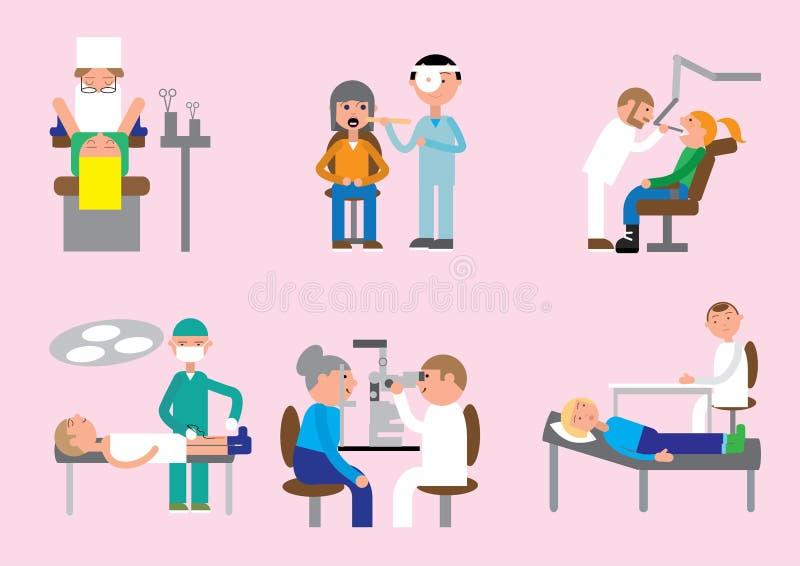 Ginecólogo de los doctores, otorrinolaringólogo, dentista, oculista, traumatologist, tratamiento del psicoterapeuta libre illustration